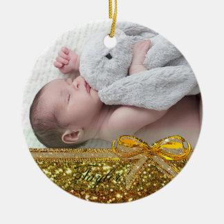 Gold Ribbon & Bow Baby Photo Ornament Keepsake