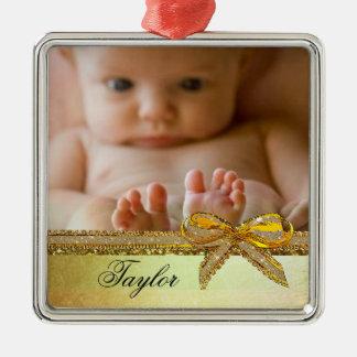 Gold Ribbon & Bow Baby Photo Ornament Keepsakes