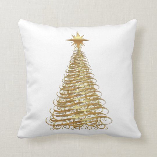 Gold ribbon christmas tree cushion