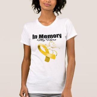 Gold Ribbon In Memory of My Hero Tshirts