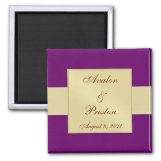 Gold Ribbon Plum Save The Date Magnet