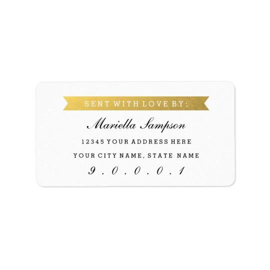 Gold Ribbon Sent to you From with Custom Address Address Label