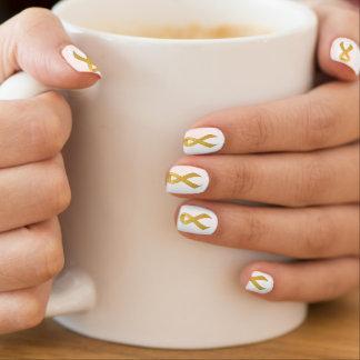 Gold Ribbon Support Awareness Nail Art