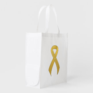 Gold Ribbon Support Awareness Reusable Grocery Bag