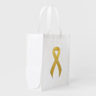 Gold Ribbon Support Awareness Reusable Grocery Bag