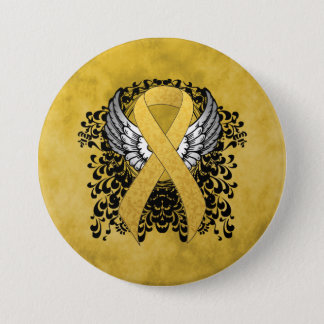 Gold Ribbon with Wings 7.5 Cm Round Badge