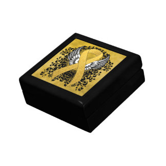 Gold Ribbon with Wings Small Square Gift Box