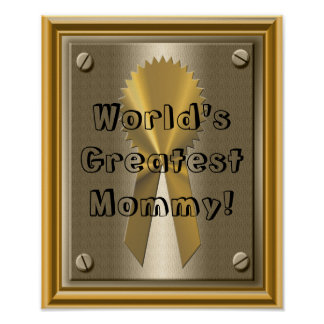Gold Ribbon World's Greatest Mommy Poster Print