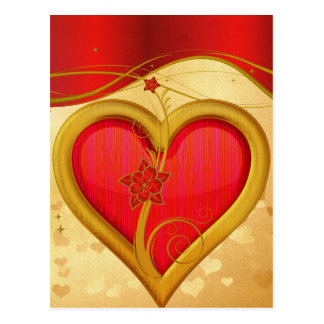 Gold Rimmed Heart Postcard