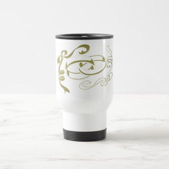 Gold Rings and Bows Art Travel Mug