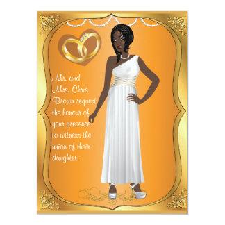 Gold Rings Bride Heart Orange Blue Wedding Invite