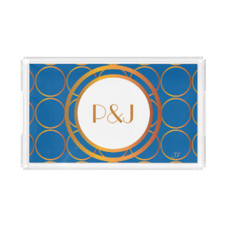Gold rings monogram acrylic tray