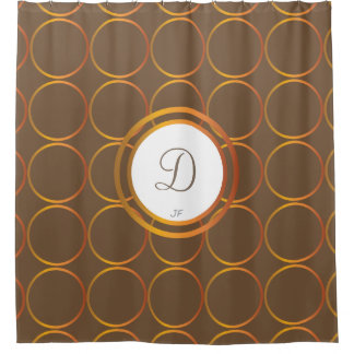 Gold rings monogram shower curtain
