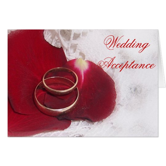 Gold Rings Rose Petals Wedding Acceptance Card