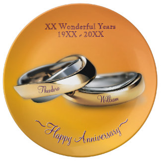 Gold Rings Wedding Anniversary Porcelain Plates