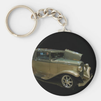Gold roadster basic round button key ring