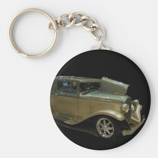 Gold roadster keychain