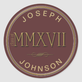 Gold Roman Numerals Class of 2017 ANY COLOR Classic Round Sticker