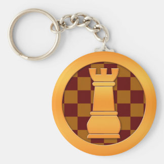 Gold Rook Chess Piece Key Ring