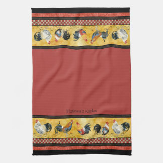 Gold Roosters Red & Tan Check Swirl Kitchen Hand Towels