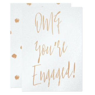 """Gold rose calligraphy """"OMG you're engaged"""" Card"""