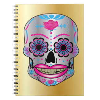 Gold Rose Candy Skull Notebook