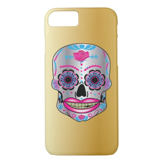 Gold Rose Candy Skull Phone Case