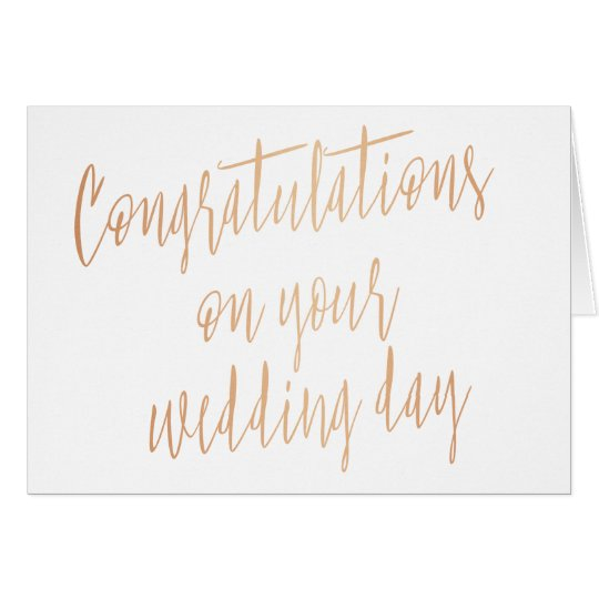 """Gold rose """"Congratulations on your wedding day"""" Card"""