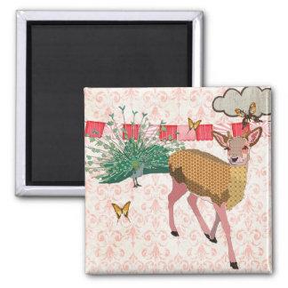 Gold Rose Deer & Peacock Pink Magnet