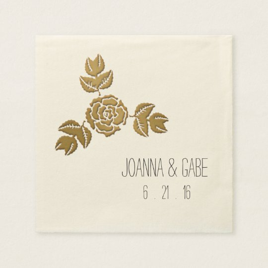 Gold Rose Floral Corner Border Napkins Paper Serviettes