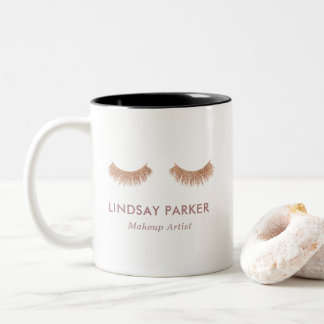 Gold Rose Glitter Lashes Makeup Artist Coffee Mug