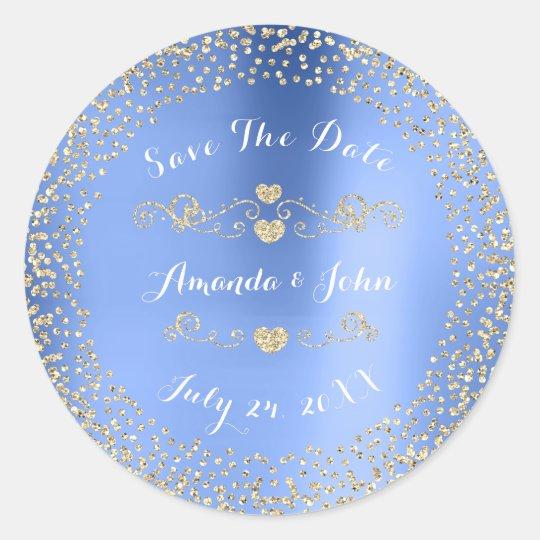 Gold Rose Glitter Save the Date Blue Metallic