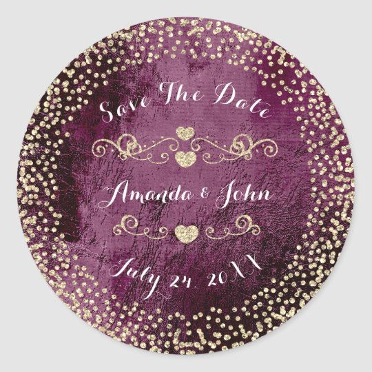 Gold Rose Glitter Save the Date Burgundy Beetroot