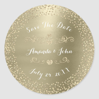 Gold Rose Glitter Save the Date Green Pastel Mint Classic Round Sticker