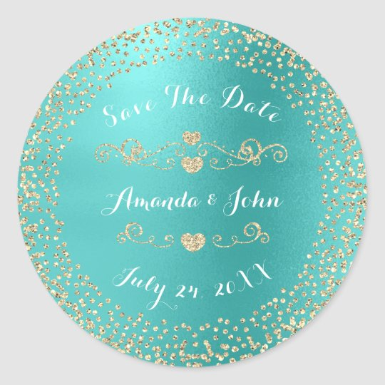Gold Rose Glitter Save the Date Mint Ocean