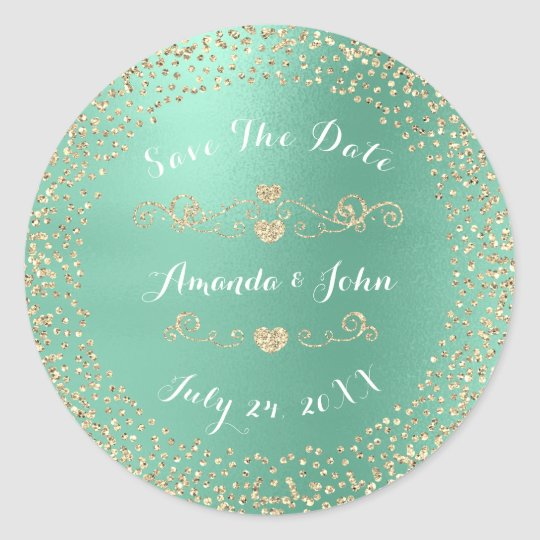 Gold Rose Glitter Save the Date Mint Tiffany