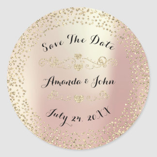 Gold Rose Glitter Save the Date Pink Blush Classic Round Sticker