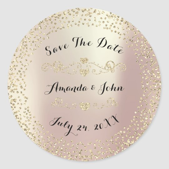 Gold Rose Glitter Save the Date Pink Blush