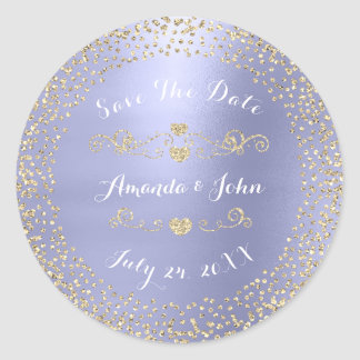 Gold Rose Glitter Save the Date Purple Amethyst Classic Round Sticker