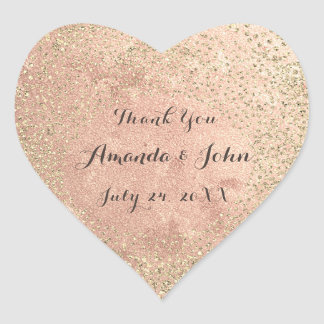 Gold Rose Glitter Save The Date Thank You Name Heart Sticker