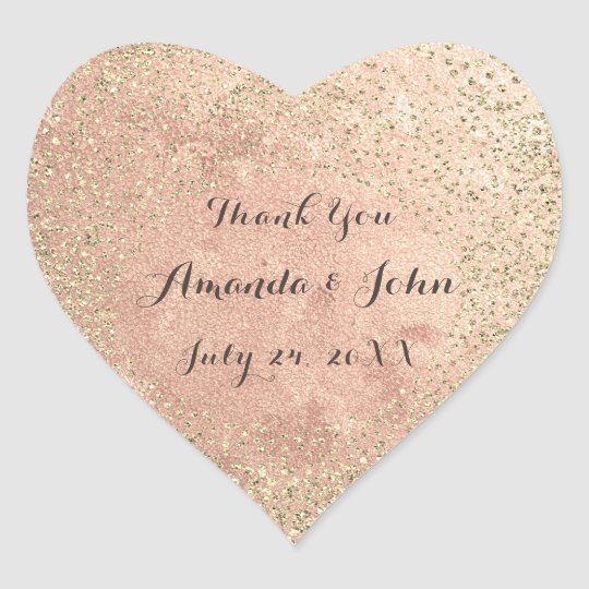 Gold Rose Glitter Save The Date Thank You