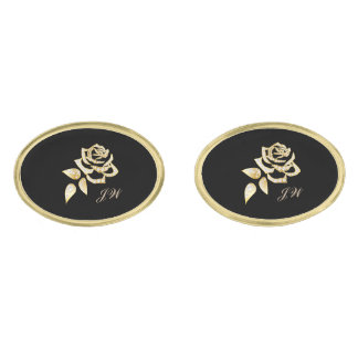 Gold Rose Gold Cuff Links-w/Monogram Gold Finish Cufflinks