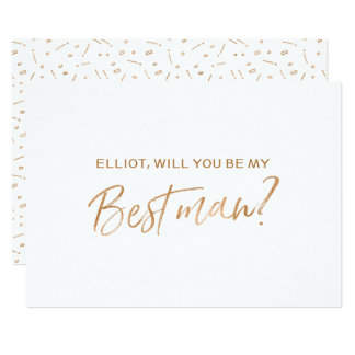 "Gold Rose Hand lettered ""Will you be my best man"" 13 Cm X 18 Cm Invitation Card"