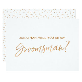 "Gold Rose Hand lettered ""Will you be my groomsman"" Card"