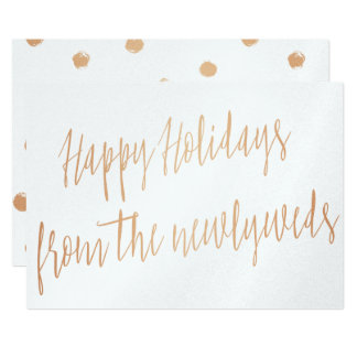 "Gold rose ""Happy Holidays from the newlyweds"" 13 Cm X 18 Cm Invitation Card"