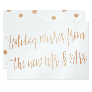 "Gold rose ""Holidays wishes from the new Mr. & Mrs"" Card"