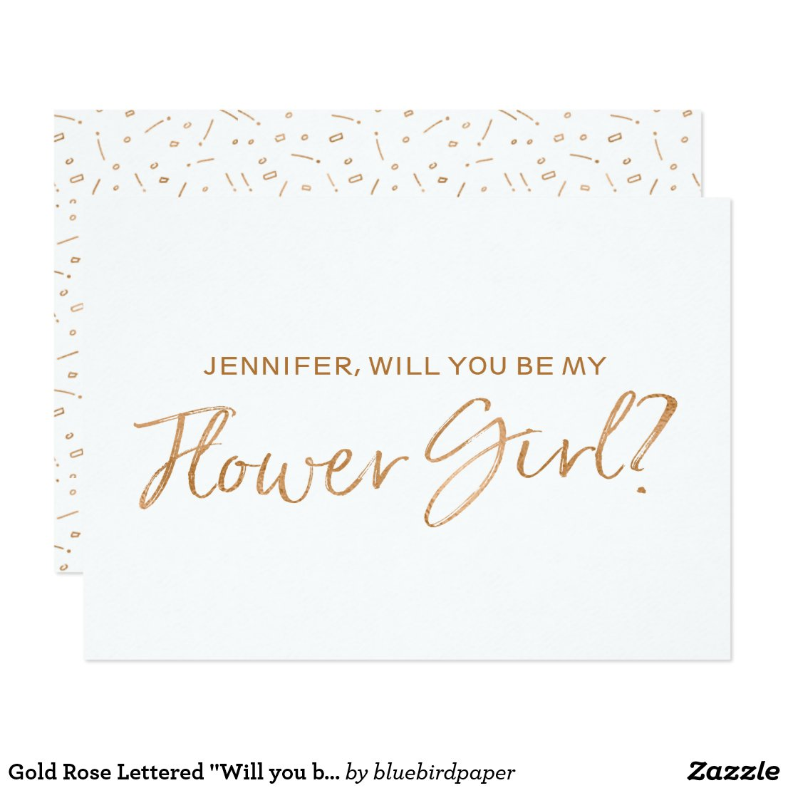 """Gold Rose Lettered """"Will you be my flower girl"""""""