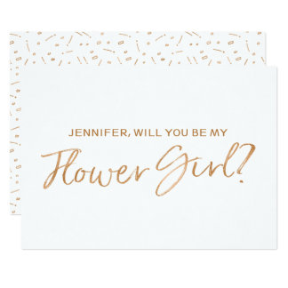 "Gold Rose Lettered ""Will you be my flower girl"" Card"