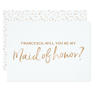 "Gold Rose Lettered ""Will you be my maid of honor"" Card"