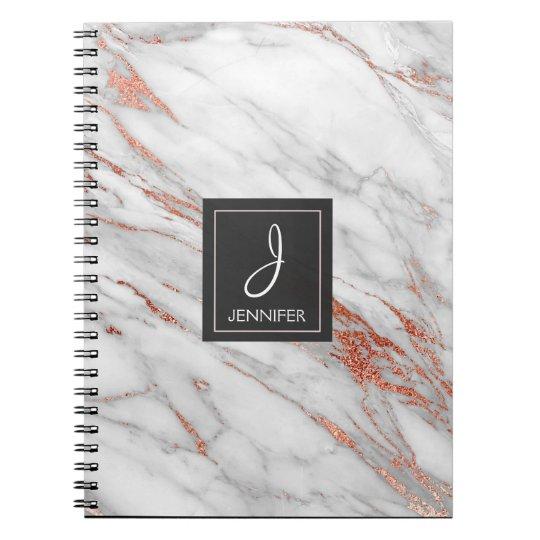 Gold Rose Marble Monogram Notebook